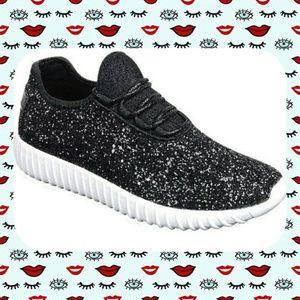 Forever Black Glitter Sneakers